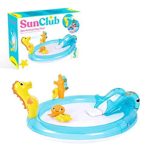 Sun Club Inflatable Sea Animal Design Play Paddling Pool with Water Spray, Slide and Toys, Blue