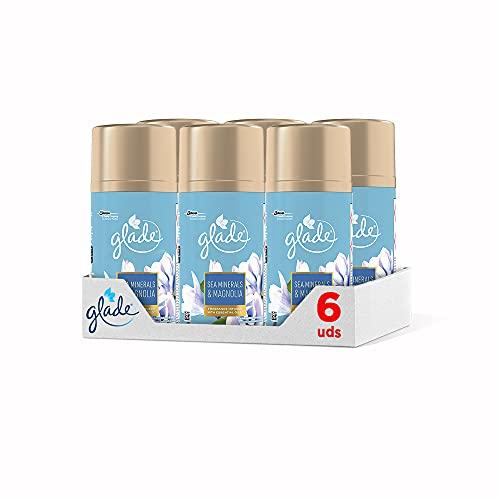 Glade Sea Minerals & Magnolia - Pack de 6 Ambientadores en Aerosol para Dosificador Automático