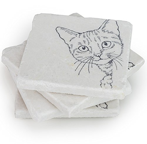 Cat Coasters for Drinks -Crazy Cat Lady Gifts, Cat Lover Gifts, Wedding Favors - Coaster Set of 4