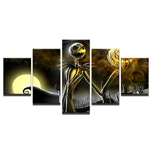 Slbtr Lienzo Arte De La Pared Cuadros Decoración para El Hogar Sala De Estar Cartel De Halloween 5 Piezas HD Impreso Pesadilla Antes De Navidad Pintura Rompecabezas