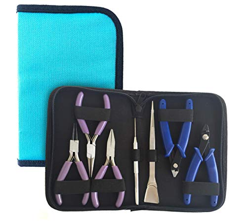 Flying K Jewelry Tools, Jewelry Pliers. Including a Crimper, Organized Zipped Case for your Jewelry Making Tools. These jewelry making supplies will help with beading, wire, or repairs. (Teal)