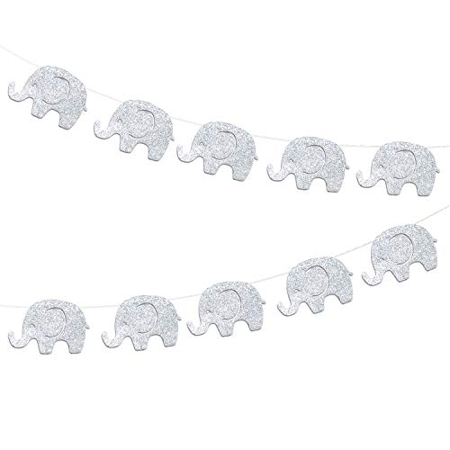 10 Feet Elephant Baby Shower Banner Glitter Silvery Garland Decorations Mother's Day Supplies Baby Elephant Decorations Birthday Party Supplies Baby Nursery Decorations 17 Pcs