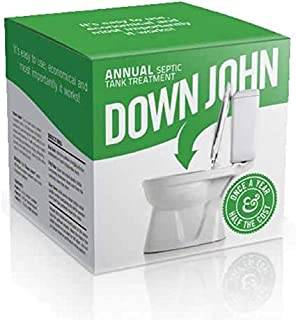 Down John Septic Tank Treatment (Once-a-Year) Live Bacteria, Grease-Eating Enzymes and Stabilizing Carbon - Additive Stops Odor and Backups, Cleans and Restores Septic Tank Systems and Drain Fields