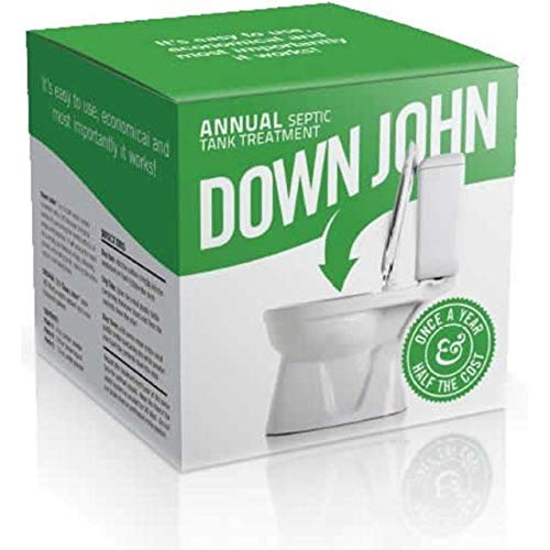 Down John Septic Tank Treatment (Once-a-Year) Live Multi-Strain Bacteria, Grease-Eating Enzymes and Stabilizing Carbon - Additive Naturally Stops Odor and Backups, Dissolves Organic Matter and Paper, Unclogs and Cleans Septic Systems, Restores Drain Field Absorption