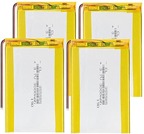 3.7V 3000Mah 355585 Lipo Baterías De Polímero De Litio para Selfie Stick DVD Power Bank Linterna Grabadora De Conducción - 4 Piezas