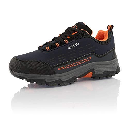 Fusskleidung® Damen Herren Wanderschuhe Wasserabweisende Trekkingschuhe Blau Orange EU 48