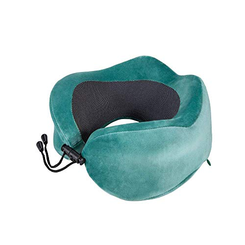 HAJZF Almohada De Viaje De Espuma Viscoelástica Ayuda del Cuello Almohada - Lavables A Máquina Kit De Viaje En Forma De U Almohada - con La Máscara De Ojo Tapones para Los Oídos Bolsa De Viaje,Verde