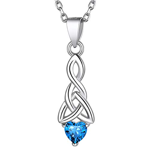 925 Sterling Silver Blue Topaz Necklace, Womens Girls Dainty Crystal Stone Celtic Trinity Knot Heart Shaped December Birthstone Pendant Necklace for Women Girls