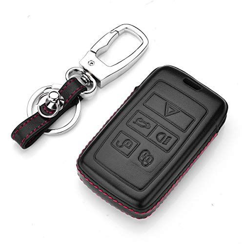Royalfox(TM) 5 Buttons TPU Smart keyless Entry Remote Key Fob case Cover for 2018 2019 Land Rover Range Rover Sport Evoque Velar Discovery 5 (Leather)
