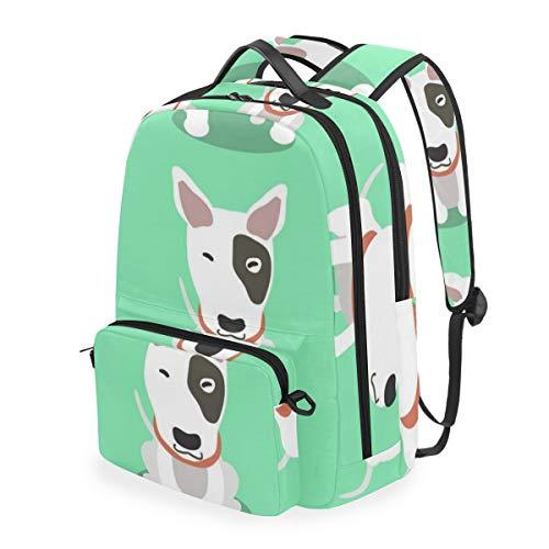 YCHY Cartoon Charakter Bullterrier Hund Posen,Schulrucksack mit abnehmbarem Federmäppchen,2-in-1-Reiserucksack für 15-Zoll-Laptop für Mädchen oder Jungen