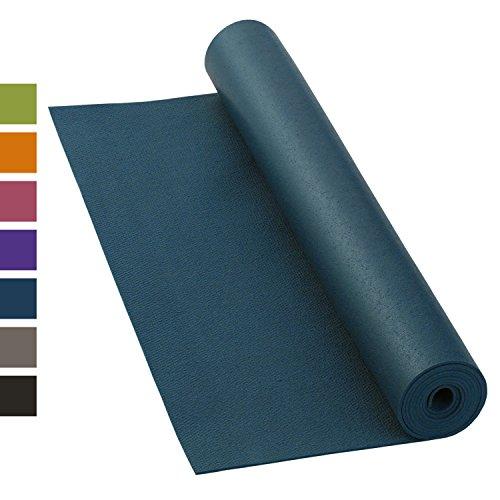 Yogamatte KAILASH PREMIUM, günstig & robust, rutschfest, schadstoffrei nach Ökotex 100, 183 x 60cm, 3mm dünne Privat- und Studiomatte, phtalatfrei, maschinenwaschbar (blau) - Made in Germany