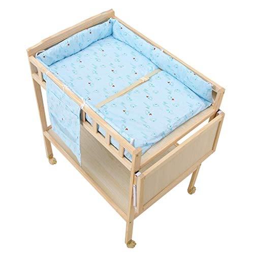 LJYY Holz Baby Wickeltisch auf Rädern, Kinderzimmer Mädchen Jungen Kleinkinder Blaue Massage Kommode Badewanne Station mit Lagerung, 0-3 Jahre alt