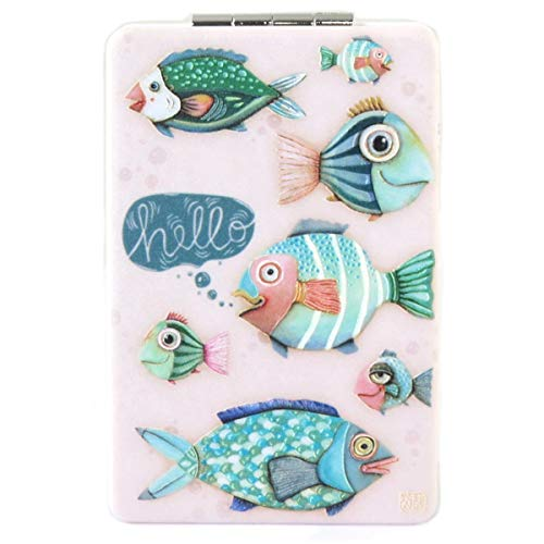 Allen Designs [Q1974] - Miroir de poche 'Allen Designs' vert rose (poissons) - 8.5x5.5 cm