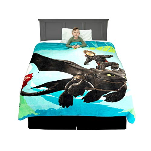 Franco Kids Bedding Super Soft Plush Microfiber Blanket, Twin/Full Size 62' x 90', How to Train Your Dragon