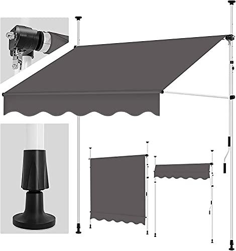 tillvex Klemmmarkise 250 cm Anthrazit mit Handkurbel Balkon | Balkonmarkise ohne Bohren | Markise UV-beständig & höhenverstellbar | Sonnenschutz wasserdicht