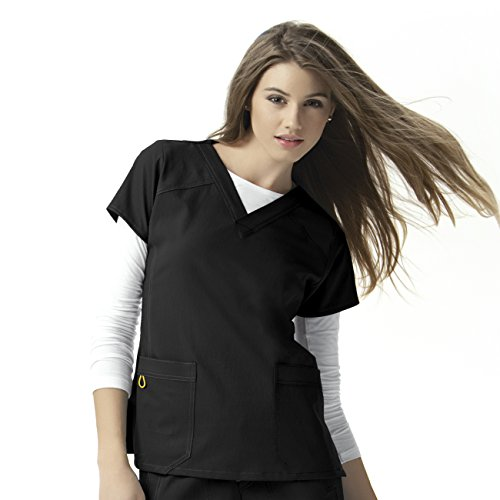 WonderWink Women's Scrubs Four Way Stretch Sporty V-Neck Top, Black, Large