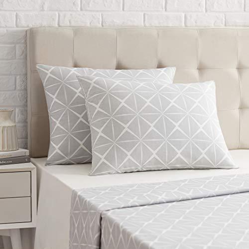 AmazonBasics - Funda de almohada de satén - 50 x 80 cm x 2, Gris cuarzo