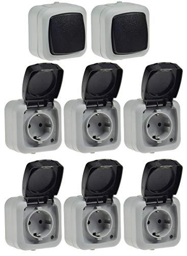 Feuchtraum Steckdose mit Schalter 8-teilig IP44 6x Steckdose 2x Schalter I Aufputz Montage I 230V I Klappdeckel mit FederAutomatik I Grau