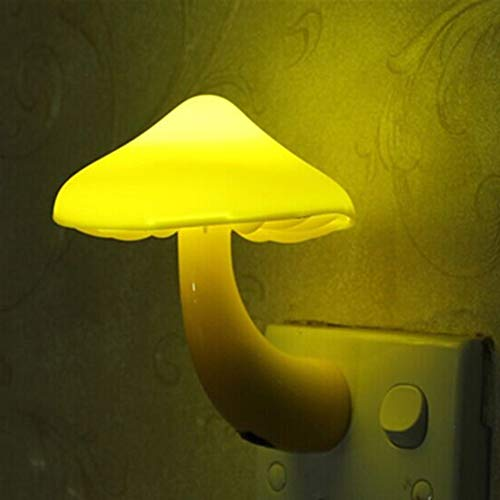 Luz nocturna LED con seta, luz nocturna, control de luz, sensor, enchufe de pared, lámpara de luz, decoración para el hogar y el dormitorio