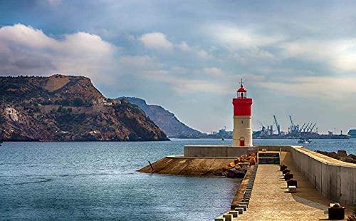 Faro de Navidad Cartagena Murcia Faro del Puerto de Rompecabezas para Adultos 1000 Pieza,Madera Rompecabezas de la Familia de que el Juego de la Colección de Juego Educativo de Arte para la Pared del