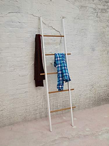 Tidyboy LOLA | hochwertige Designer Kleiderleiter aus Massivholz | Edel verarbeitet| 100% Handmade in Berlin | Handtuchleiter | Stummer Diener | Herrendiener (Weiß/Natur, Alu/Eiche)