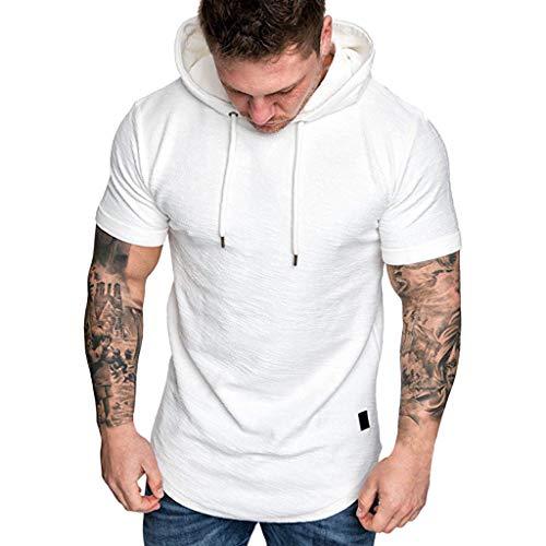 Camiseta de Manga Corta Verano Camiseta de Moda para Hombre con Capucha para Hombre Deporte Color Sólido T-Shirt Sport Running Fitness Camiseta Transpirable Manga Corta (Blanco, L)