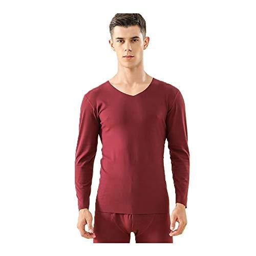 MLYWD thermo-ondergoed voor heren, V-hals, katoen, thermo-ondergoed, 2-delige set, midweight, lange thermische ondergoed, ski, functioneel ondergoed voor winter, slaapbroek, onderstukken + bovenstukken