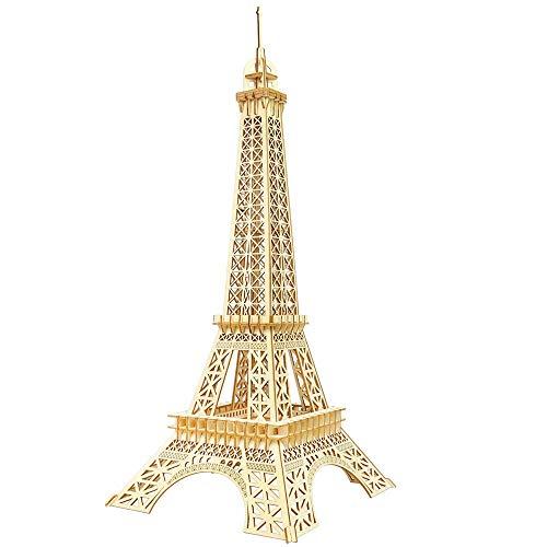 WEIFAN Kit de Rompecabezas de Madera Kit de Rompecabezas de Madera 3D DIY para niños, Adolescentes y Adultos Torre Eiffel