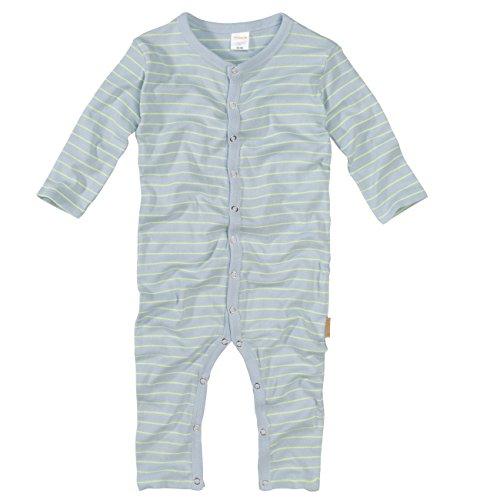 wellyou, Schlafanzug, Pyjama für Jungen und Mädchen, Einteiler Langarm, Baby Kinder, hellblau neon-gelb gestreift, Geringelt, Feinripp 100% Baumwolle, Größe 68-74