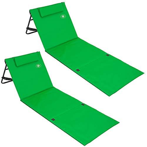 Deuba 2X Strandmatte Faltbar Gepolstert Kissen Verstellbare Rückenlehne Staufach Badematte Isomatte Strandtuch Grün