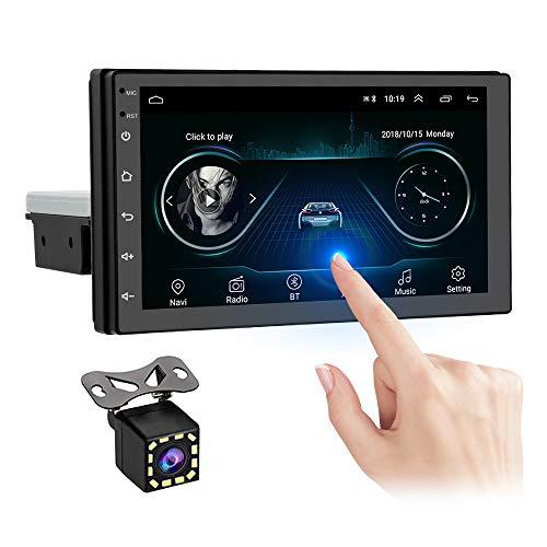 OiLiehu Single DIN Double DIN Android Car Radio Bluetooth, 7 ' HD Pantalla táctil Reproductor Multimedia para automóvil, Soporte para FM/WiFi/SWC/Mirror Link + Cámara de visión Trasera y 2 + 16G