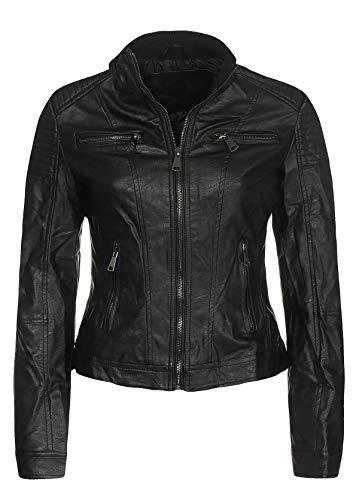 Malito Damen Jacke | Kunstleder Jacke | Jacke mit Zipper | lässige Bikerjacke - Sakko - Jackett 5179 (schwarz, L)