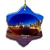Umsufa USA America Cloud Gate、Millennium Park Chicago Christmas Ceramic Ornament Xmas Tree Decor Souvenirs Double Sided Snowflake Porcelain Home Gifts