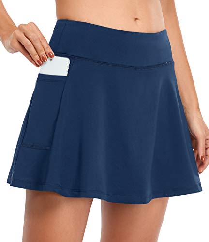 Fulbelle Skorts for Women with Pockets, Summer Tennis Golf Skirts Teen Girls Double Layered Athletic Workout Running Exercising Short Skirt Gym Yoga Comfy Clothes Nacy Blue Large