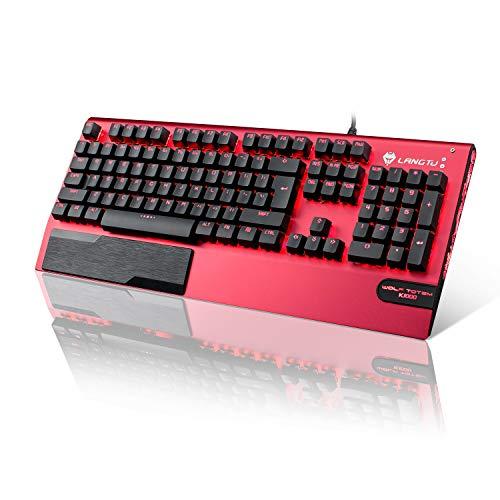 Mechanische Tastatur LANGTU Mechanische Gaming Tastatur mit LED Hintergrundbeleuchtung QWERTY (US-Layout) Anti-ghosting Blaue Schalter Tastatur, Ganzmetall-Panel mit Handballenauflage 104 Tasten Rot