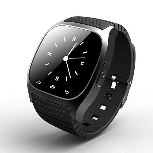 Reloj inteligente Smartwatch M26 uetooth con LED Alitmeter Reproductor de música Podómetro de alerta anti-pérdida para teléfonos Android IOS(Reloj inteligente M26 - NegroNegro)