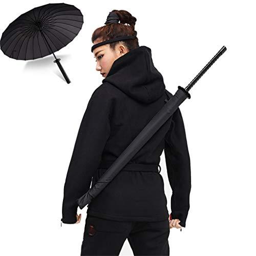 Samurai-Regenschirm-automatischer, Ninja Regenschirm Stockschirme Langer Griff Outdoor Sonne & Regen Regenschirm Schwarz Gerade Regenschirm, 24 Rippen