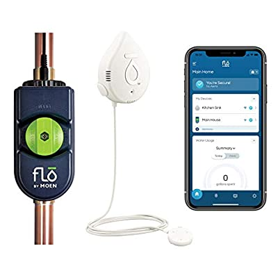 Moen 900-001 Flo by Moen 3/4-Inch Smart Water Shutoff with 920-004 Flo by Moen Smart Water Detector, 1-Pack