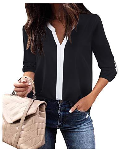 Frauen Blusen und Tops für die Arbeit 3/4 Ärmel Shirts Damen Farbe Kontrast Chiffon Patchwork Split V-Ausschnitt Casual Blusen Schwarz, Groß