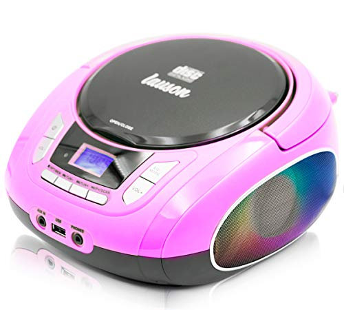 Lauson NXT565 Boombox with Cd Player Mp3 | Portable Radio CD-Player Stereo with USB | Cd Player for Kids | LED Light Function | Headphone Jack 3.5mm (Pink)