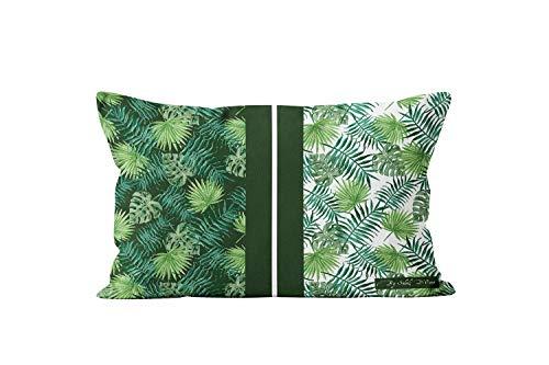 Soleil d'ocre Vegetal - Funda de cojín (algodón, 32 x 50 cm), Color Verde