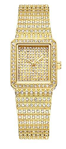 SUKPETA Reloj de pulsera analógico de cuarzo con diamantes artificiales brillantes y cielo estrellado con esfera cuadrada