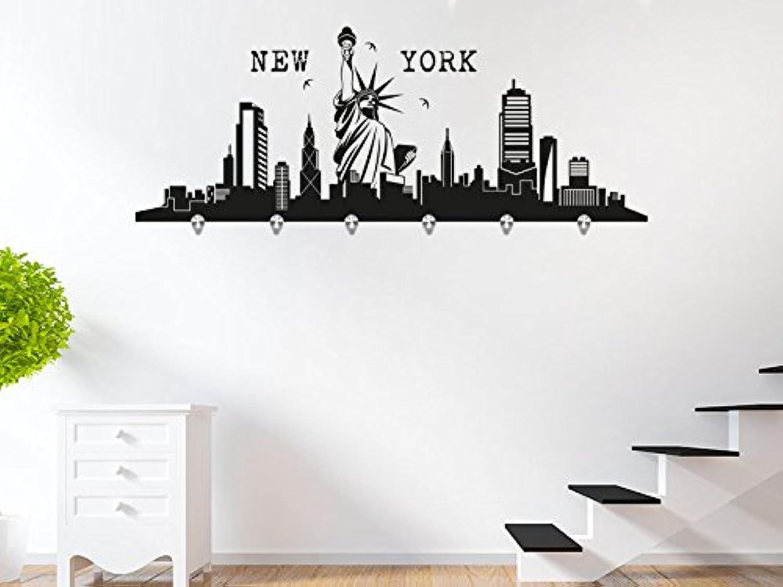 KLEBEHELD® Wandtattoo Garderobe Skyline New York mit 6 Edelstahl Wandhaken B013WPM5OI