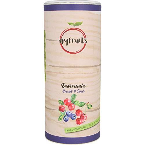 myfruits® Beerenmix -Sweet & Sour - Mischung aus gefriergetrockneten Früchten - Ohne Zuckerzusatz - Cranberryscheiben/Wildheidelbeeren/Sauerkirschen, 300g