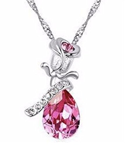 Beauty and the Beast Rose Drop Necklace