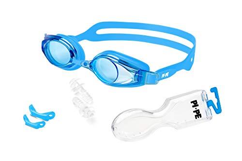 PI-PE Active Schwimmbrille mit Antibeschlag- und UV-Schutz - inklusive 1 Paar Ohrstöpsel - Blue