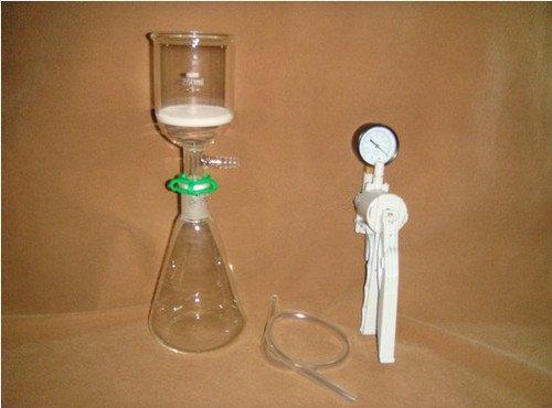 Gowe Filter-Set (Erlenmeyerkolben + Filtertrichter (3#) + Vakuumpumpe, Labor-Filterset