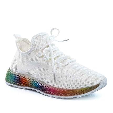 PAYMA - Zapatillas Sneakers Deportivas Mujer. Tenis Gimnasio, Deporte, Casual y Caminar. Malla traspirable. Piso Transparente. Color: Blanco. Talla 39