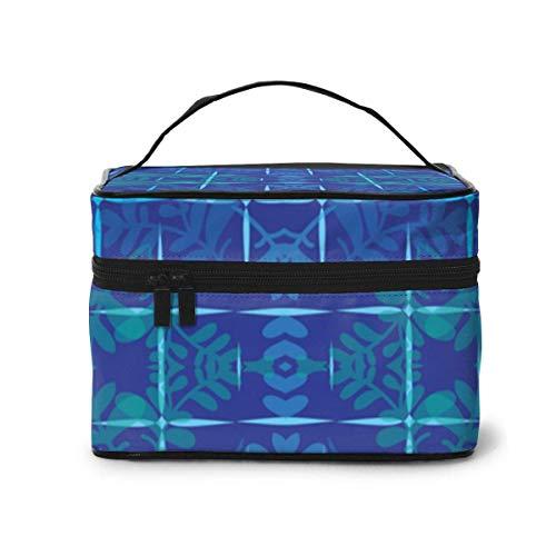 Make-up Taschen Etuis,Kosmetiktaschen Blue Flowering Wallpaper (2354) Pattern Portable Travel Makeup Cosmetic Bags Organizer Makeup Boxes for Women Travel Daily Carry