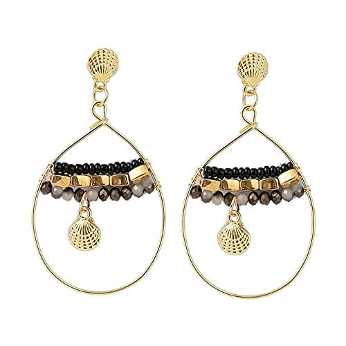 xiangwang Pendientes de cristal bohemio hechos a mano 20201 con cuentas de cristal para mujer, bohemio, dorado, con diseño geométrico
